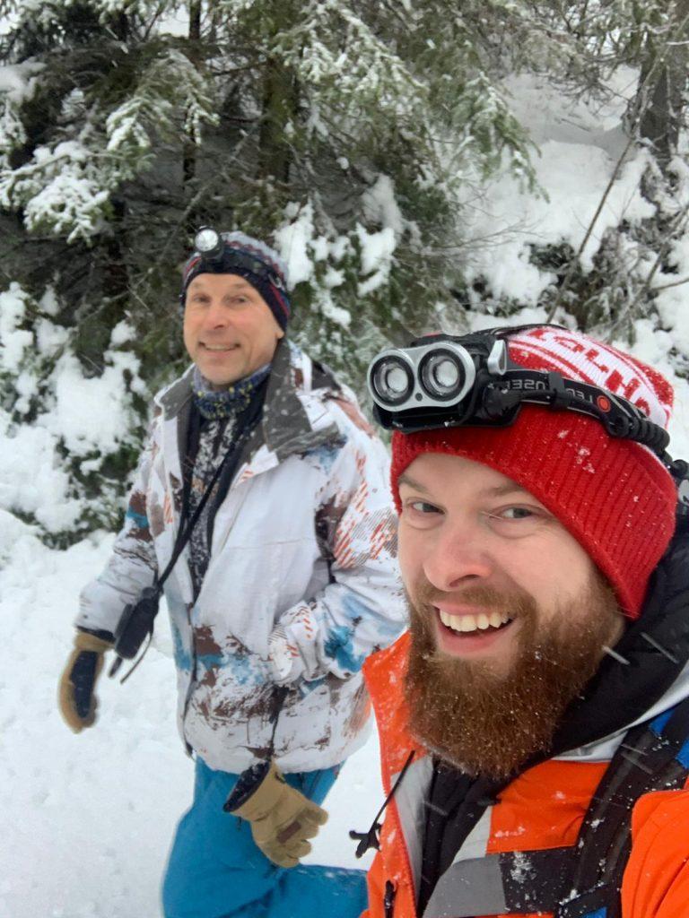 Juha Romppanen ja Juri Sevrjukov matkalla Kehnonluolaan.